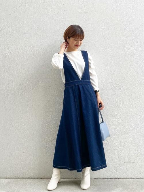 [ROPE' PICNIC] 【リンクコーデ】【WEB限定36サイズ】ストレッチデニム調ジャンパースカート