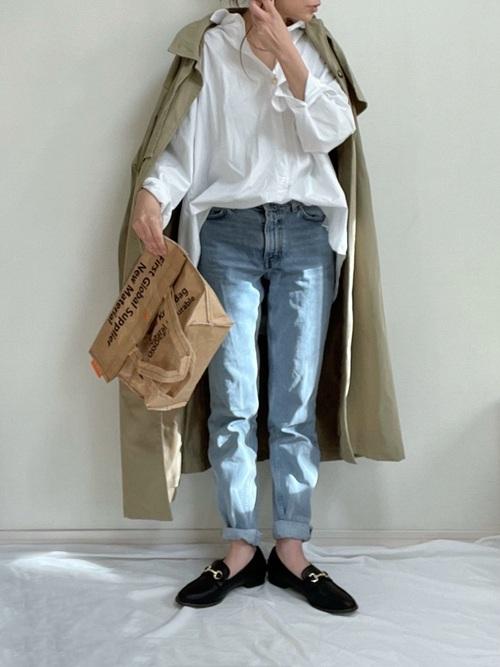 ZARAデニム×白シャツの秋コーデ