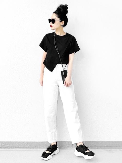 ZARAワイドパンツ×黒Tシャツの夏コーデ