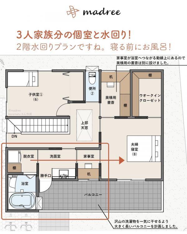 3人家族で暮らす!みんなが使える個室もある家。4