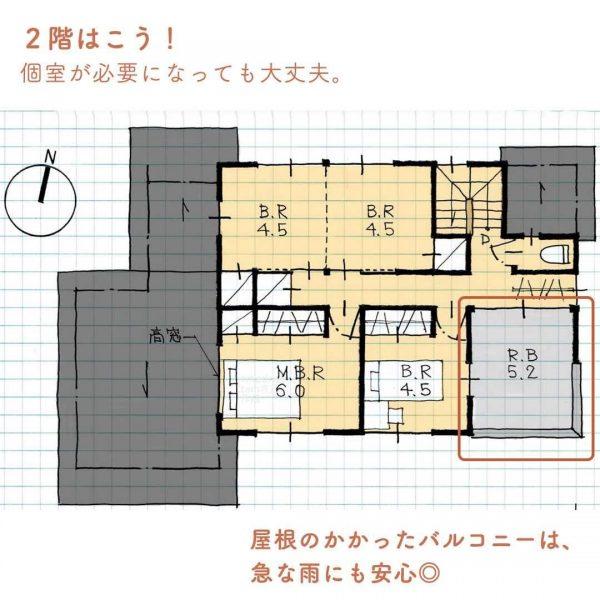 子どもが小さいうちはみんなで寝る!1階の和室が広い5人家族間取り。4