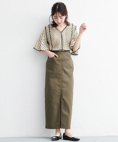 チノライクフロントスリットタイトスカート