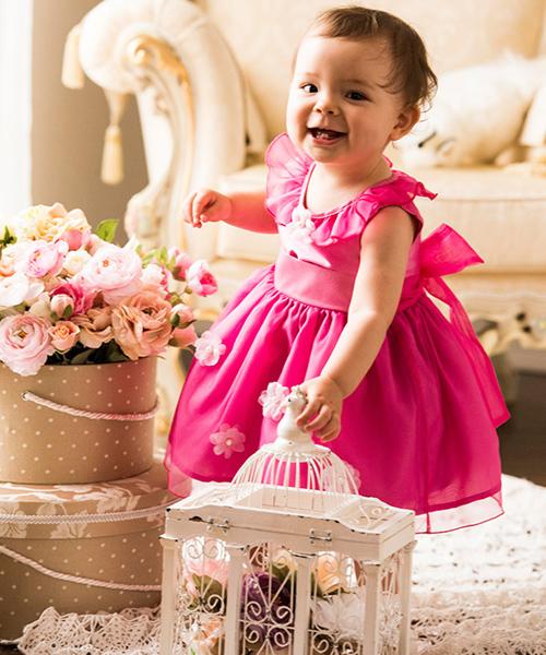 オーガンジーとお花のカラーべビードレス