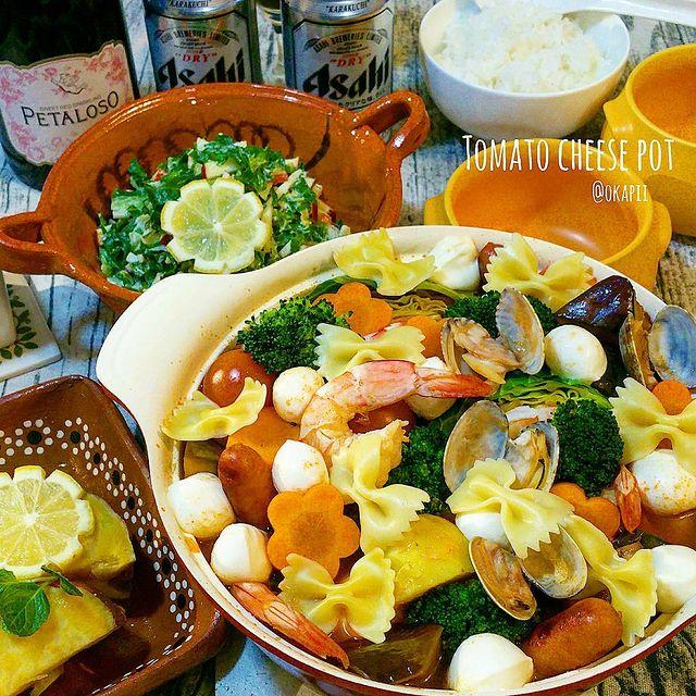 具沢山!えびとあさりのトマトチーズ鍋レシピ