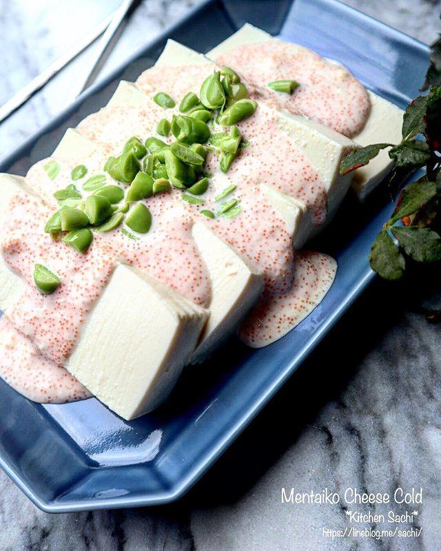 豆腐、冷奴、明太子、クリームチーズ、ピスタチオ。