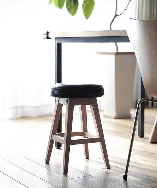[sarasa design store] b2c シンプルラウンドスツール ロー オイルドレザー|ブラック
