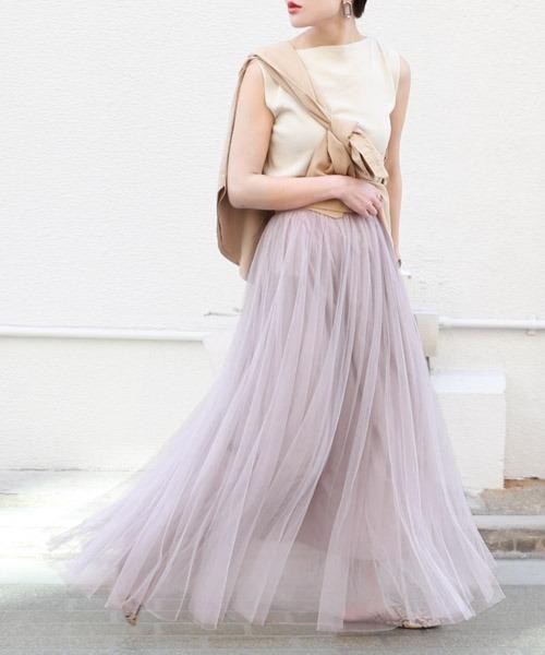 長さ選べる上品カラーチュールスカート