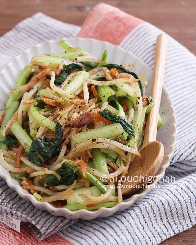節約!小松菜もやしと桜えびの中華炒めレシピ