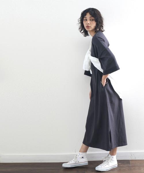 【Classical Elf】ロング丈無地コットンフレアワンピース