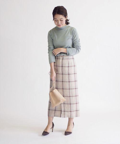 [SHIPS for women] リネンチェックタイトスカート◇