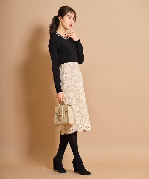 りぼん&パール付きレースタイトスカート≪tocco closet luxe≫