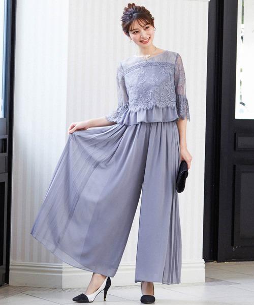 [Fashion Letter] レースセットアップ結婚式パンツドレス