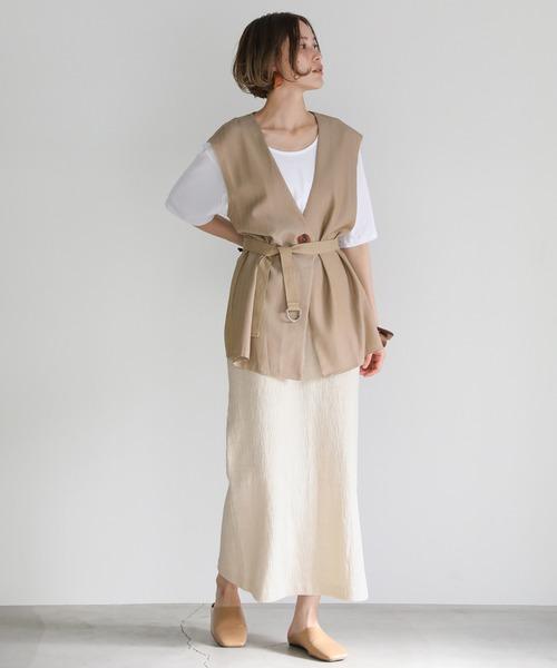 2020 SS リネンライクタイトスカート(コットン100%ロング丈ペンシルスカート)