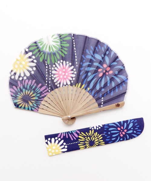 【カヤ】夏の風物詩 花火扇子 袋付き
