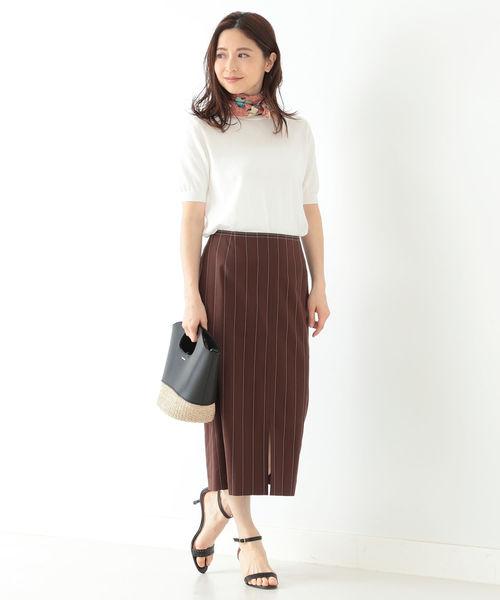 [BEAMS WOMEN] Demi-Luxe BEAMS / ストライプ コットン タイトスカート