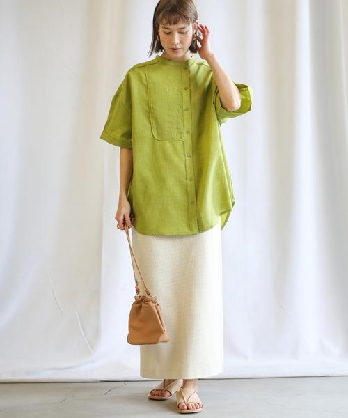 [select MOCA] 2021 SS アシンメトリーパイピングシャツ(バンドカラーオーバーサイズハーフスリーブシャツ)