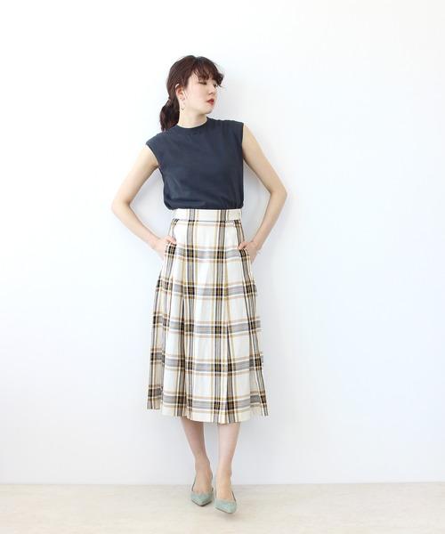 [DRESSLAVE] acetate linen check tack skirt(タータンチェックタックフレアスカート)