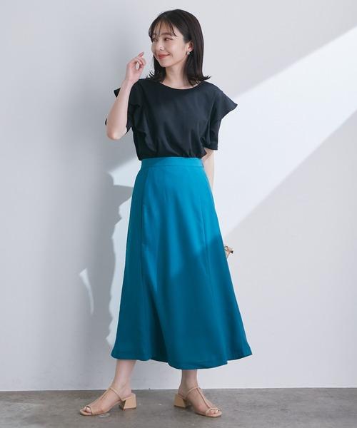 セミフレアミモレ丈スカート