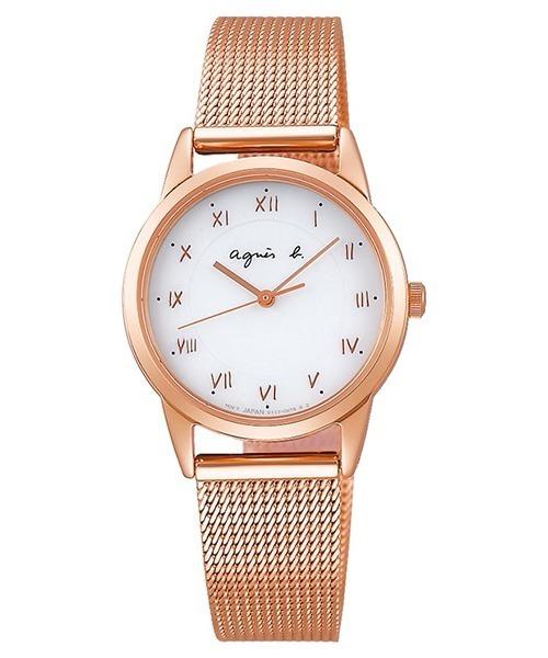 メッシュベルトのラウンドフェイス腕時計