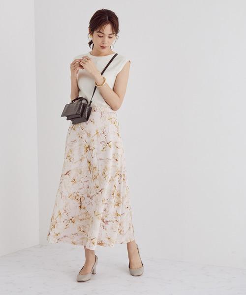 [ROPE'] 【セットアップ対応】【洗える】マーブルプリントフレアスカート