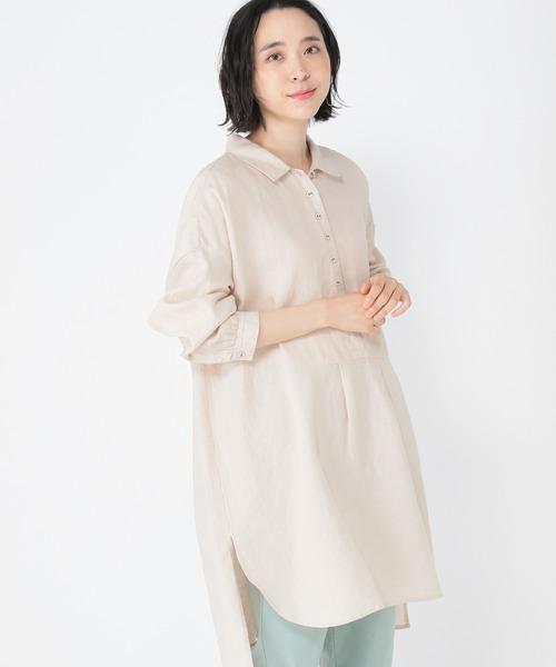 [studio CLIP] [取扱い店舗限定]リネンアソートシャツチュニック