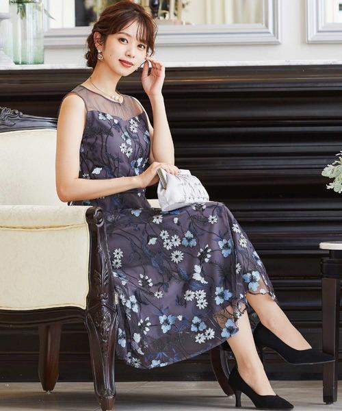 [Fashion Letter] フラワーカラー刺繍レースロング結婚式ワンピースドレス