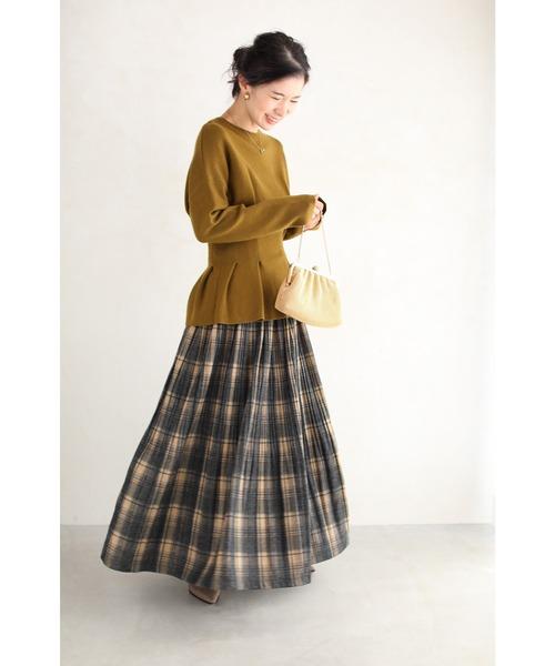 [FRENCH PAVE] まるでブランケット。暖かチェックのロングスカート