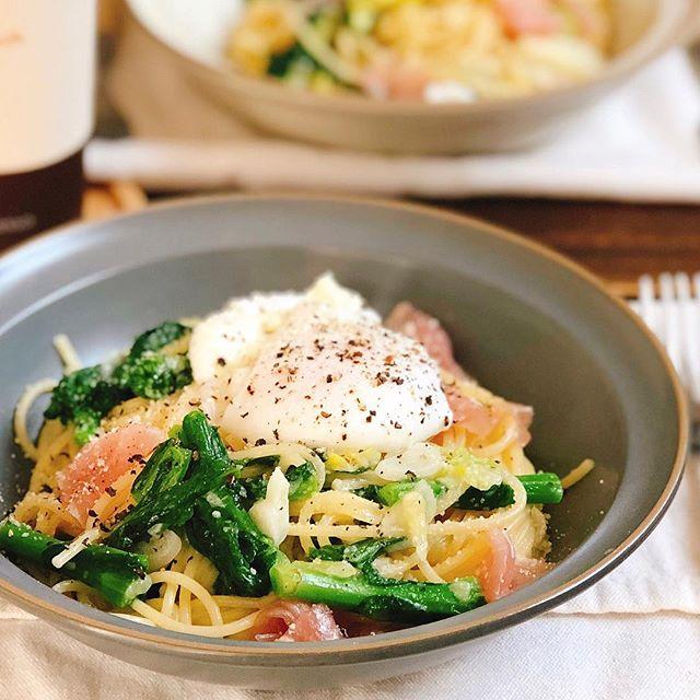 卵とチーズの春野菜生ハムパスタ