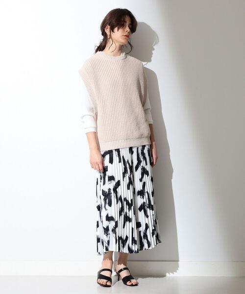 [BEAMS WOMEN] A PUPIL / ブラッシュ プリント スカート