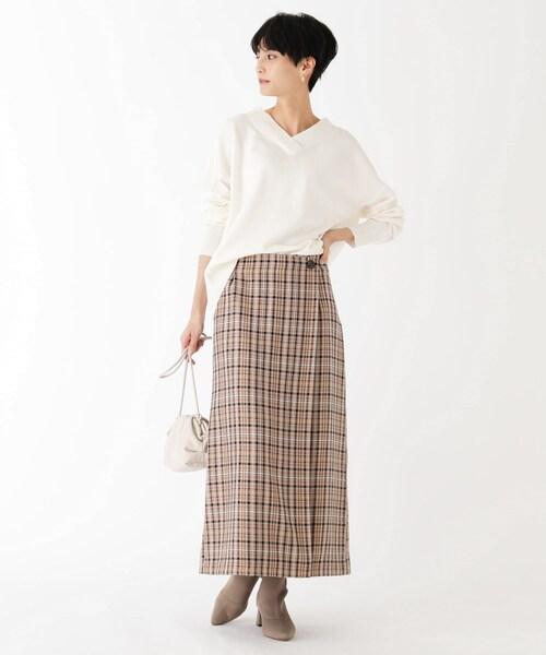 [OPAQUE.CLIP] BRERA チェックカルゼ ラップミディスカート【WEB限定サイズ】