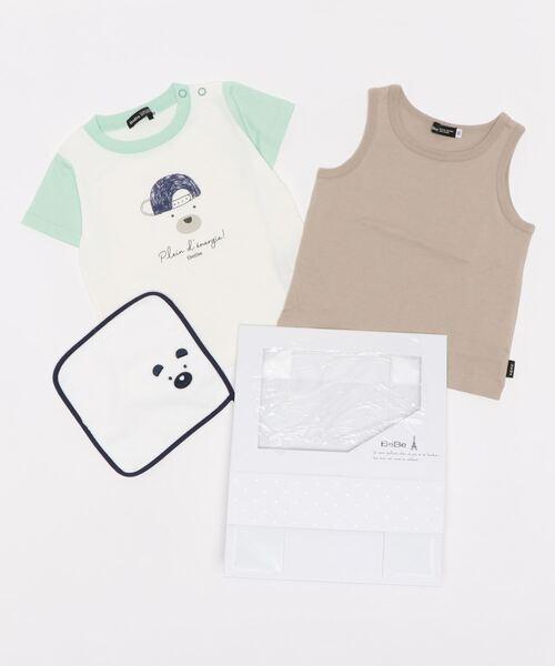 [BEBE ONLINE STORE] BeBe/【ギフトBOX付き】ベビー ギフト3点 セット クマさんプリントTシャツ+タンクトップ +タオル(80~90cm)