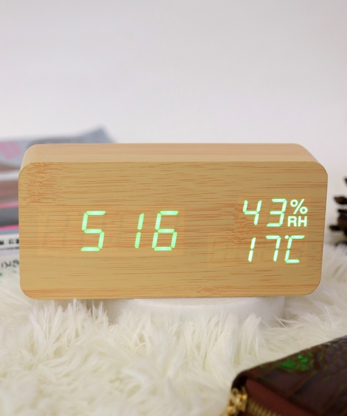 [florist] 【置き時計】多機能LEDウッドクロック
