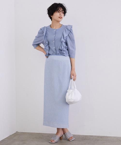 [ROPE'] 【セットアップ対応】ギンガムチェックストレートロングスカート