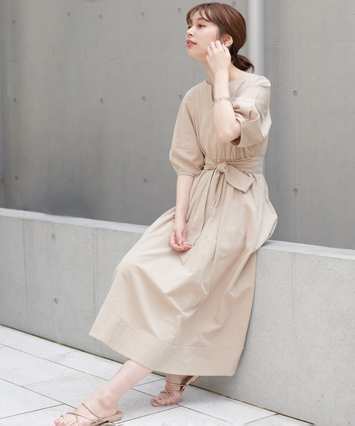 【natural couture】ランタンスリーブワンピース
