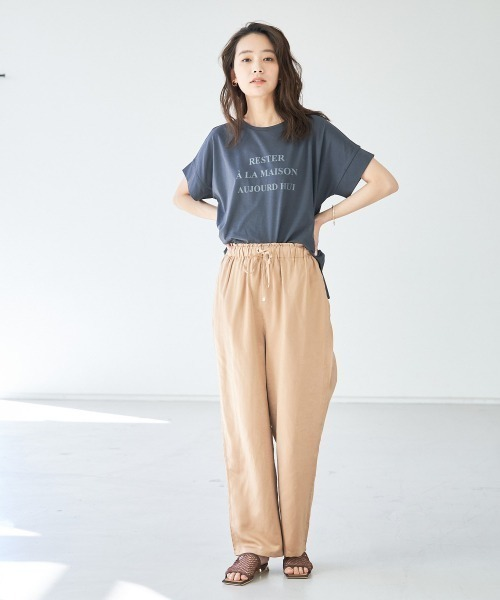 [Abahouse Devinette] ecru ワイドロゴTシャツ