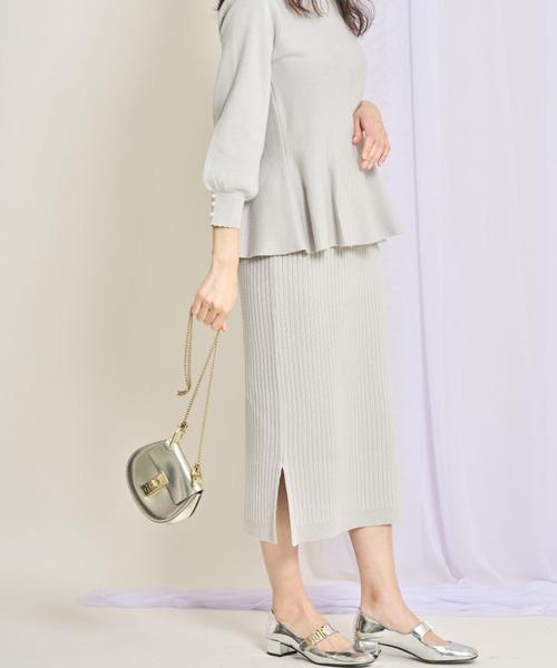 裾スリット入りシンプルリブニットタイトスカート