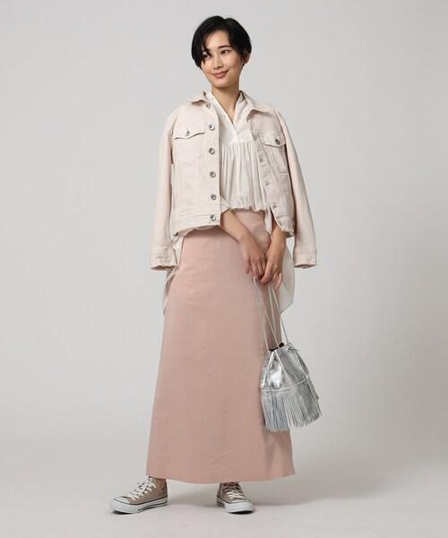 [UNTITLED] 【洗える】スモーキーIラインロングスカート