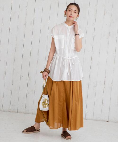 【coen】コットンボイルマキシギャザーフレアスカート