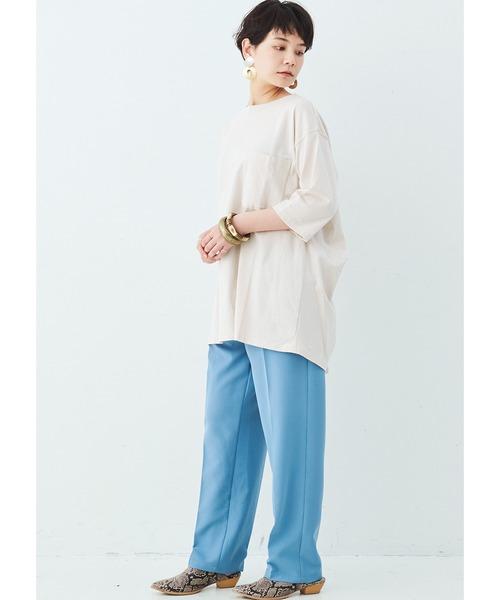 [FELISSIMO] MEDE19F バックデザインのリメイク風Tシャツ8