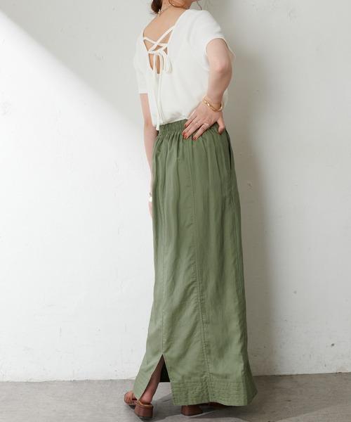 テンセル混ワークナロースカート