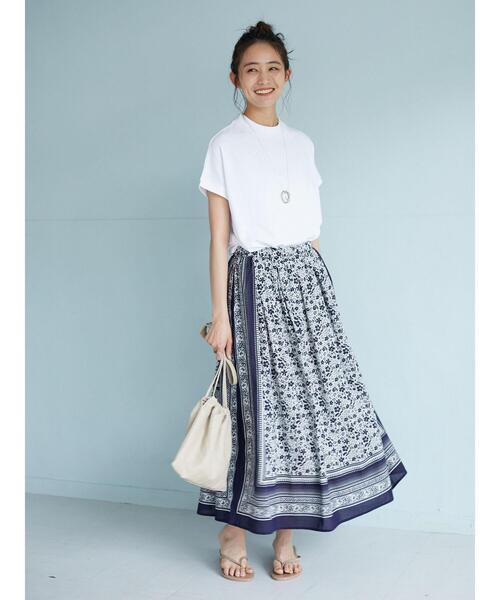 パネル柄小花スカート