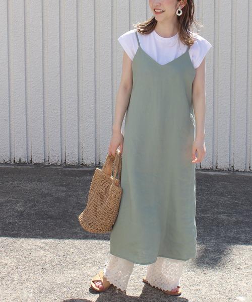 Tシャツ×フレンチリネンキャミワンピース セット