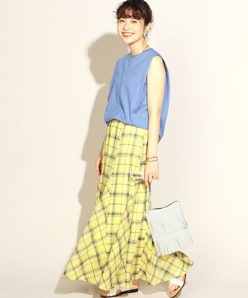 [NOLLEY'S] シアーチェックマーメイドスカート
