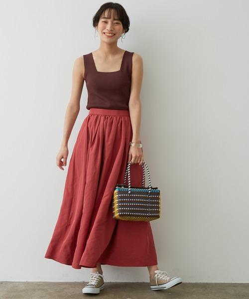 [ADAM ET ROPE'] タフタタックギャザースカート