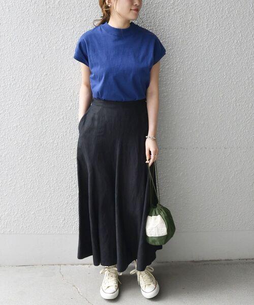 [SHIPS for women] SHIPS any:〈手洗い可能〉リネン ミックス ランダム フレア スカート