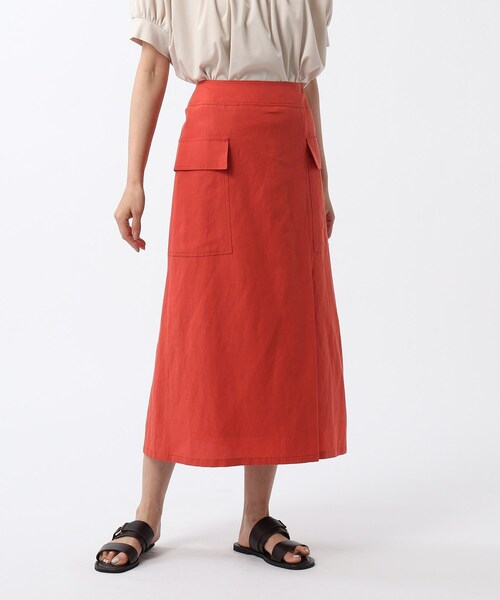 [UNTITLED] 【洗える】リネン混カーゴスカート