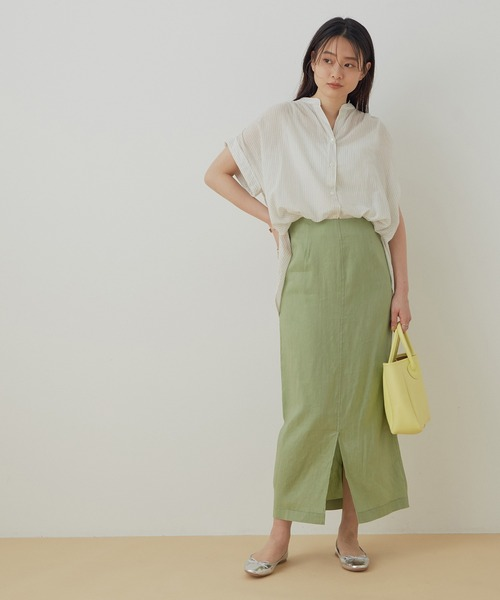 [ADAM ET ROPE'] 【WEB限定】リネンMIXタイトスカート