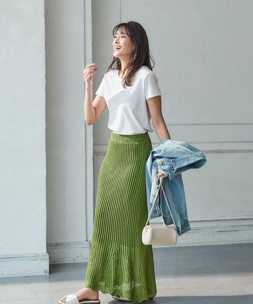 透かし編みウエストゴムロングニットスカート