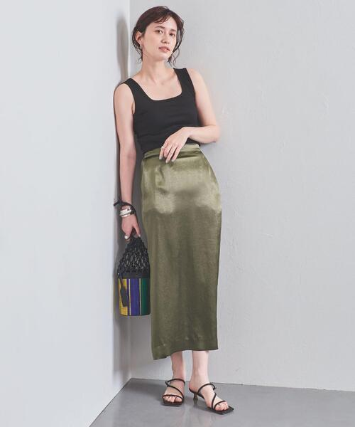 [UNITED ARROWS] UWSC サテン イージータイトスカート