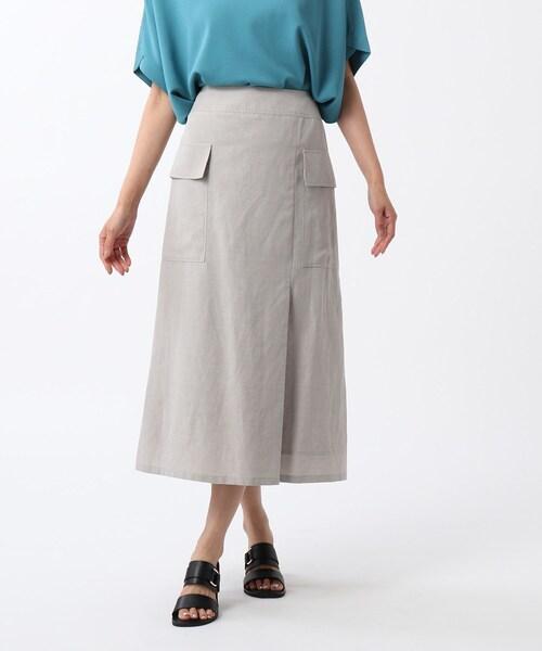 [UNTITLED] 「L」【洗える】リネン混カーゴスカート